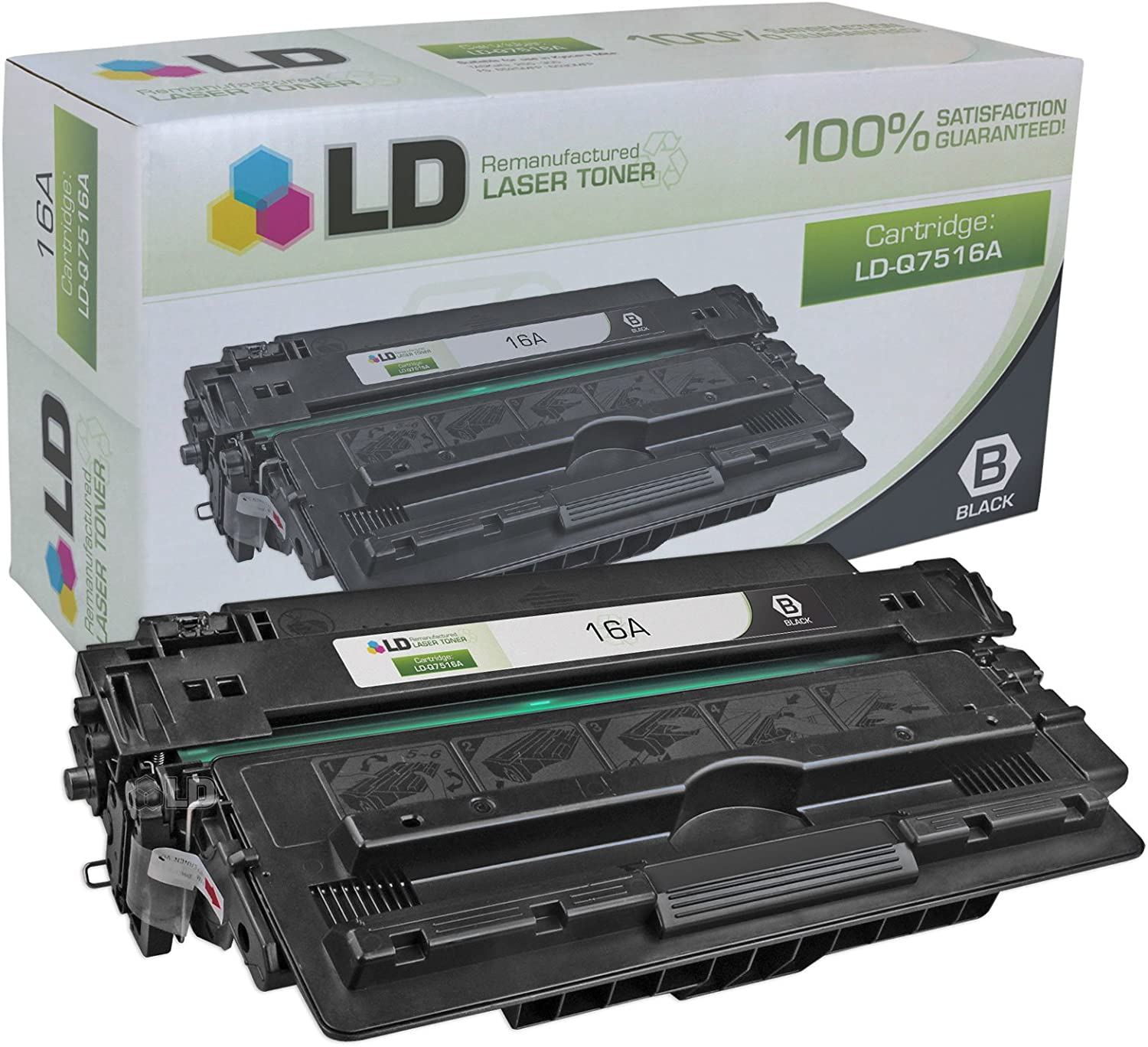 LD Remanufactured Toner Cartridge Replacement for HP 16A Q7516A (Black)