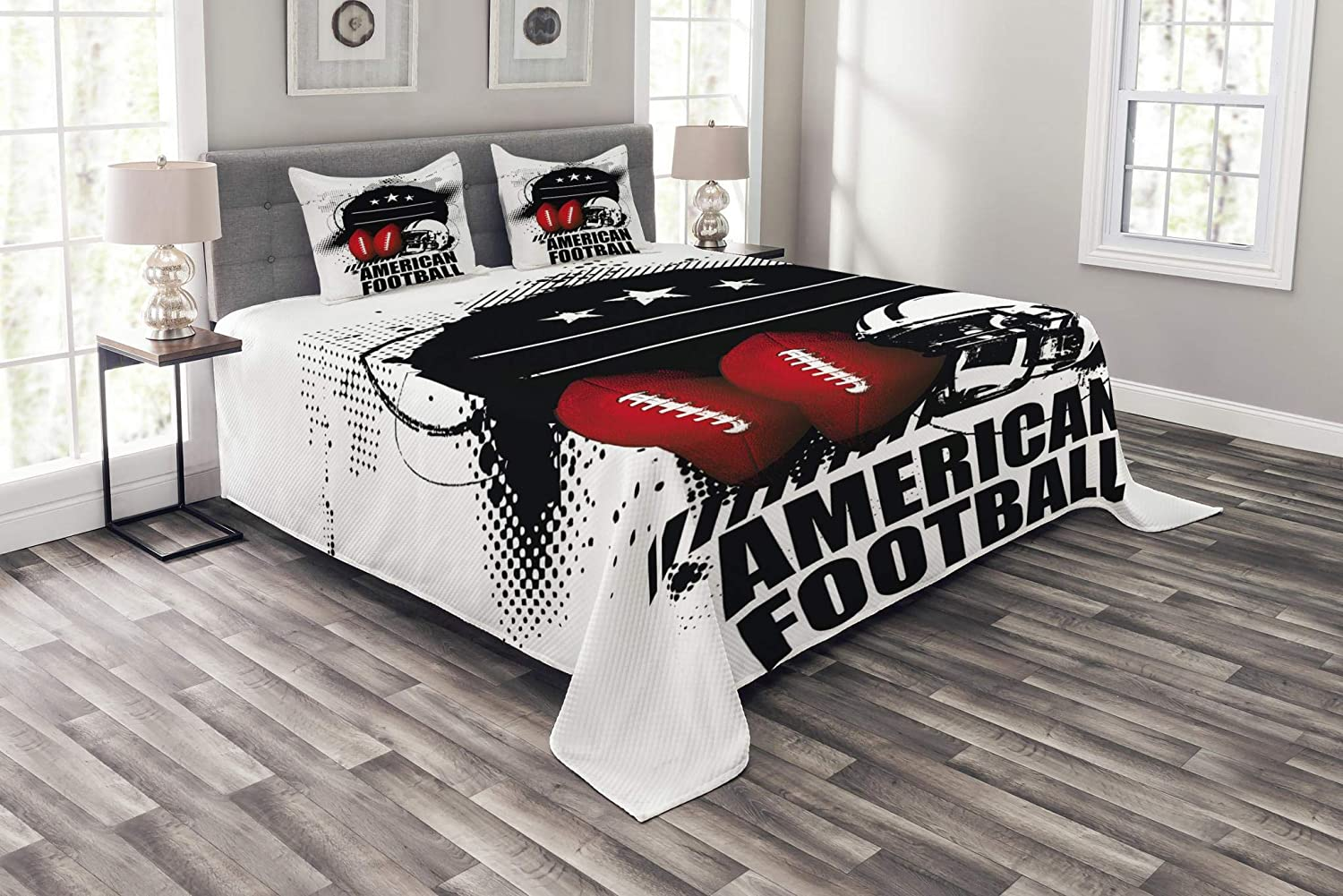 Lunarable Boy's Room Bedspread Set Twin Size, American Football Theme Grunge Looking Retro Composition Balls, Decorative Quilted 2 Piece Coverlet Set Pillow Sham, Red White Black bed_40541_twin