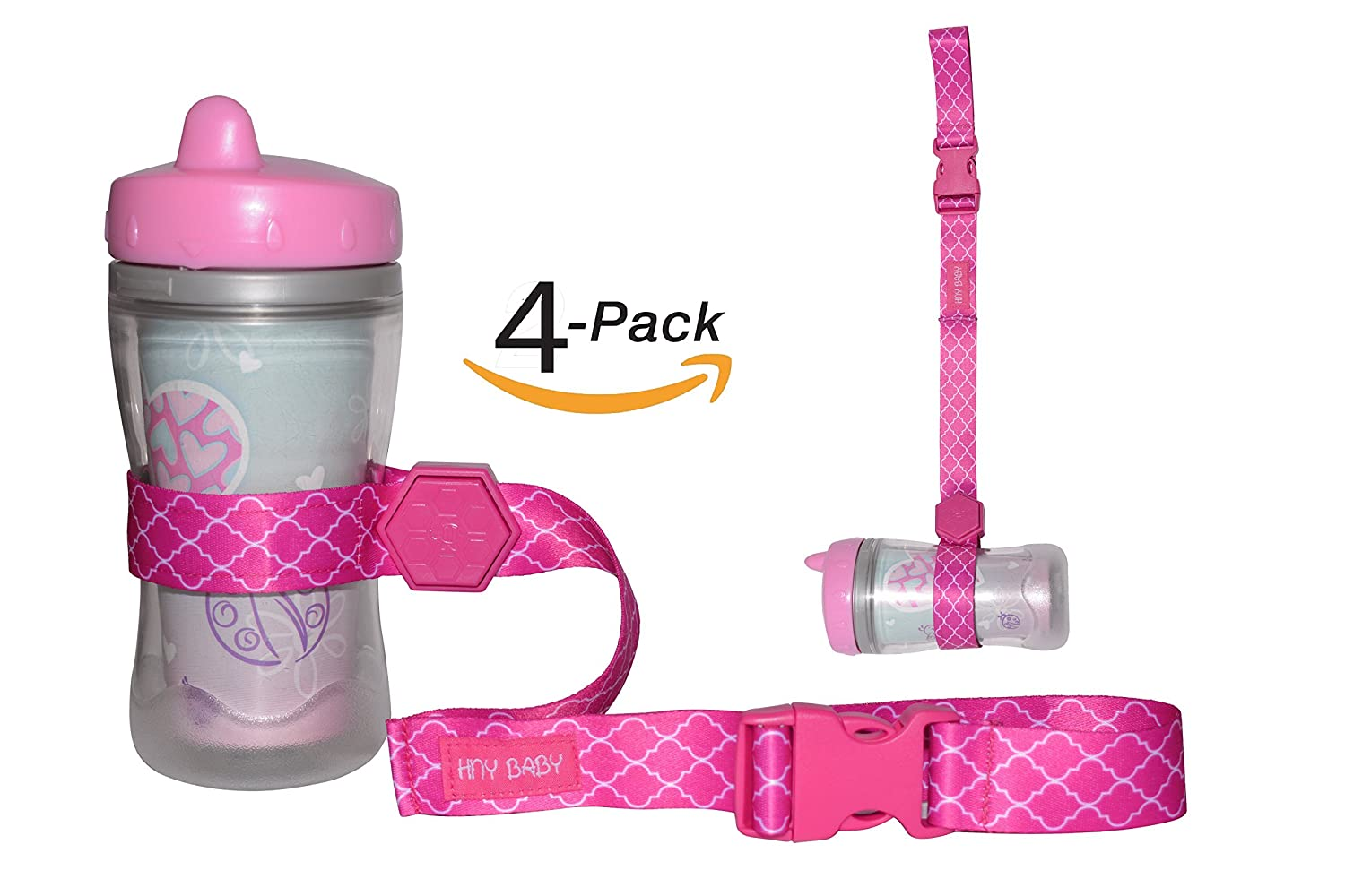 HnyBaby Sippy Cup Straps (4-Pack) Toddler Drink and Baby Bottles Holders and Toy Clips | One-Button Adjustable, Non-Slip Grip | Stroller, High Chair, Travel Use