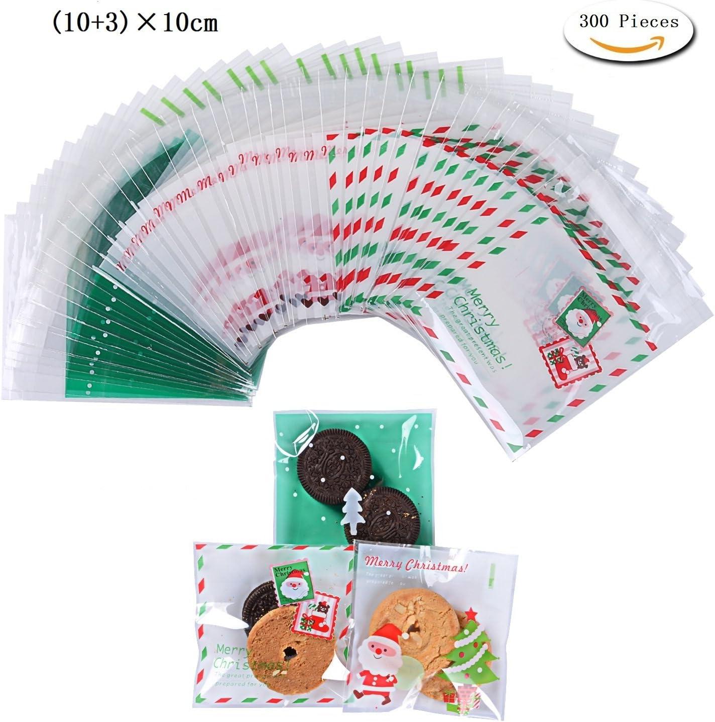 300pcs Bolsa de Caramelo Cajas de Tartas Cookie Panadería Biscuit Feliz Navidad Regalo Plástico (Christmas green)