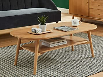 Homifab Table Basse Scandinave 120x60x40 Cm Chene Collection