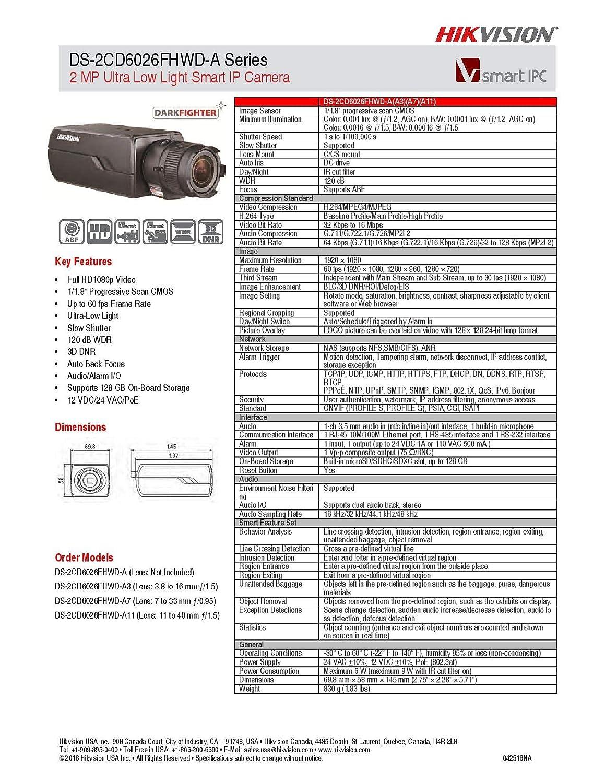 Amazon Com Hikvision Ds 2cd6026fhwd A3 Super Low Light Box Camera 2mp 1080p H 264 3 8 16 Mm Lens Wide Dynamic Range Poe 12vdc Industrial Scientific