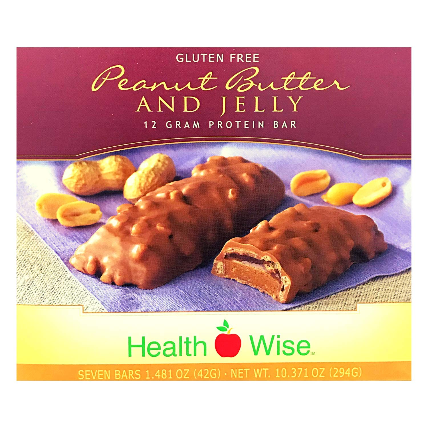 HealthWise Peanut Butter and Jelly Protein Bar, (7 packets of 1.481 oz., net 10.371 oz.)