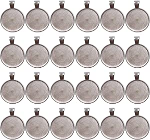 Dcatcher 24 PCS Bezel Pendant Trays Round Cabochon Settings Trays Pendant Blanks, 25mm Diameter, Silver