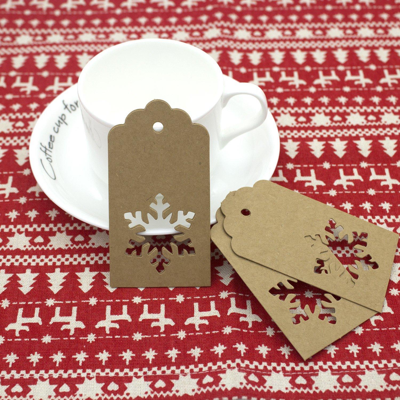 /rosso snowflake-shaped Senhai vacanza da appendere etichette/ /131/Feet juta naturale ritorti 200/pezzi carta kraft etichette regalo di Natale marrone con 40/meters/
