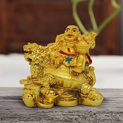 TIED RIBBONS Resin Laughing Buddha On Dragon for Remove Bad Luck (7 cm X  4 5 cm X 7 cm, Multicolour)