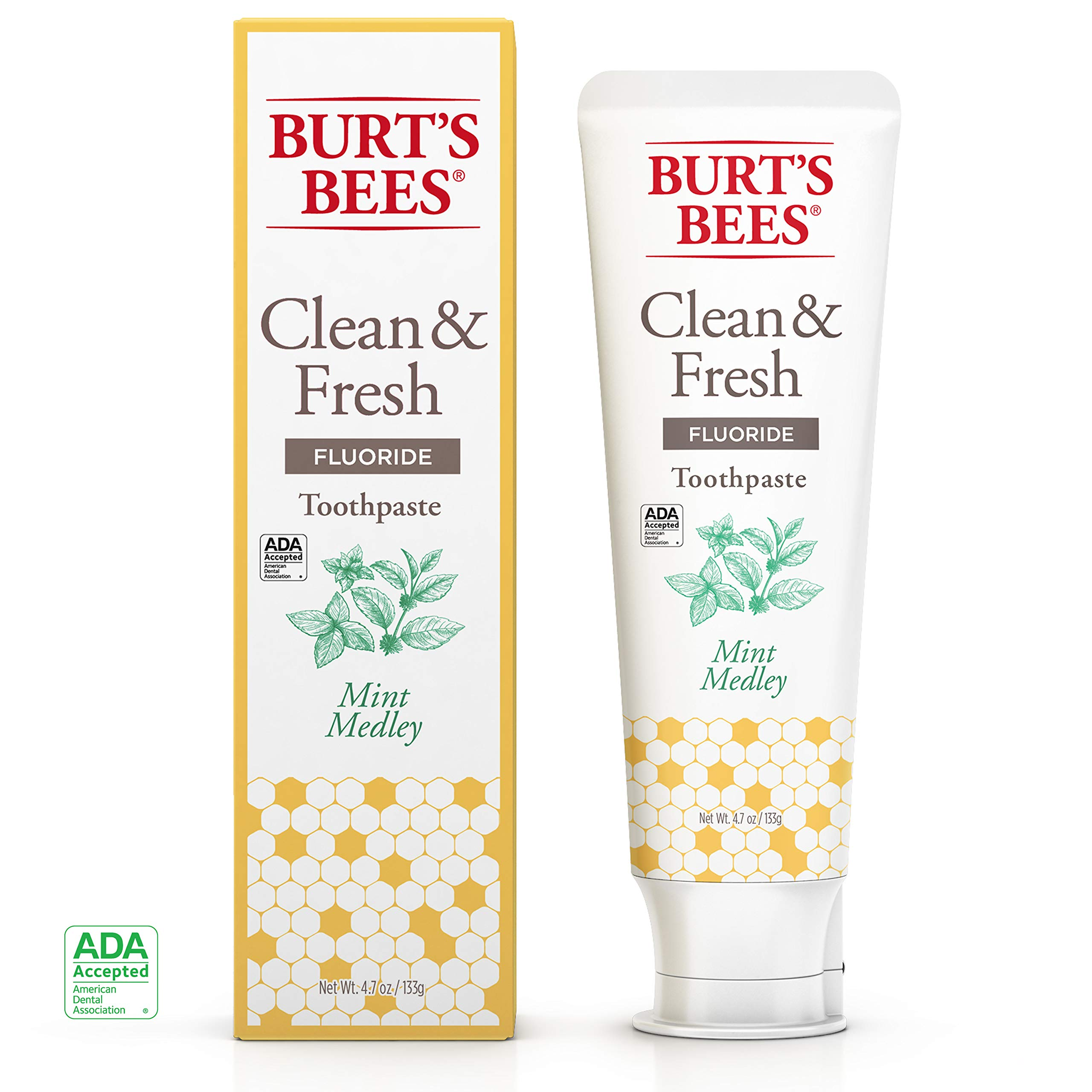 Burt's Bees Toothpaste, Natural Flavor With Fluoride Clean & Fresh, Mint Medley, 4.7oz 3 Count