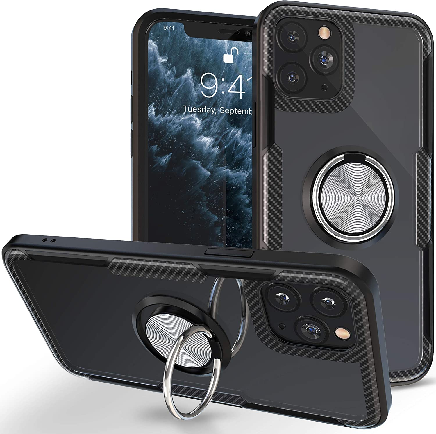 iPhone 11 Pro Max Case | Transparent Crystal Clear Cover | Carbon Fiber Trim & Rubber Bumper | 360° Rotating Magnetic Finger Ring | Kickstand | Compatible with Apple iPhone 11 Pro Max - Black