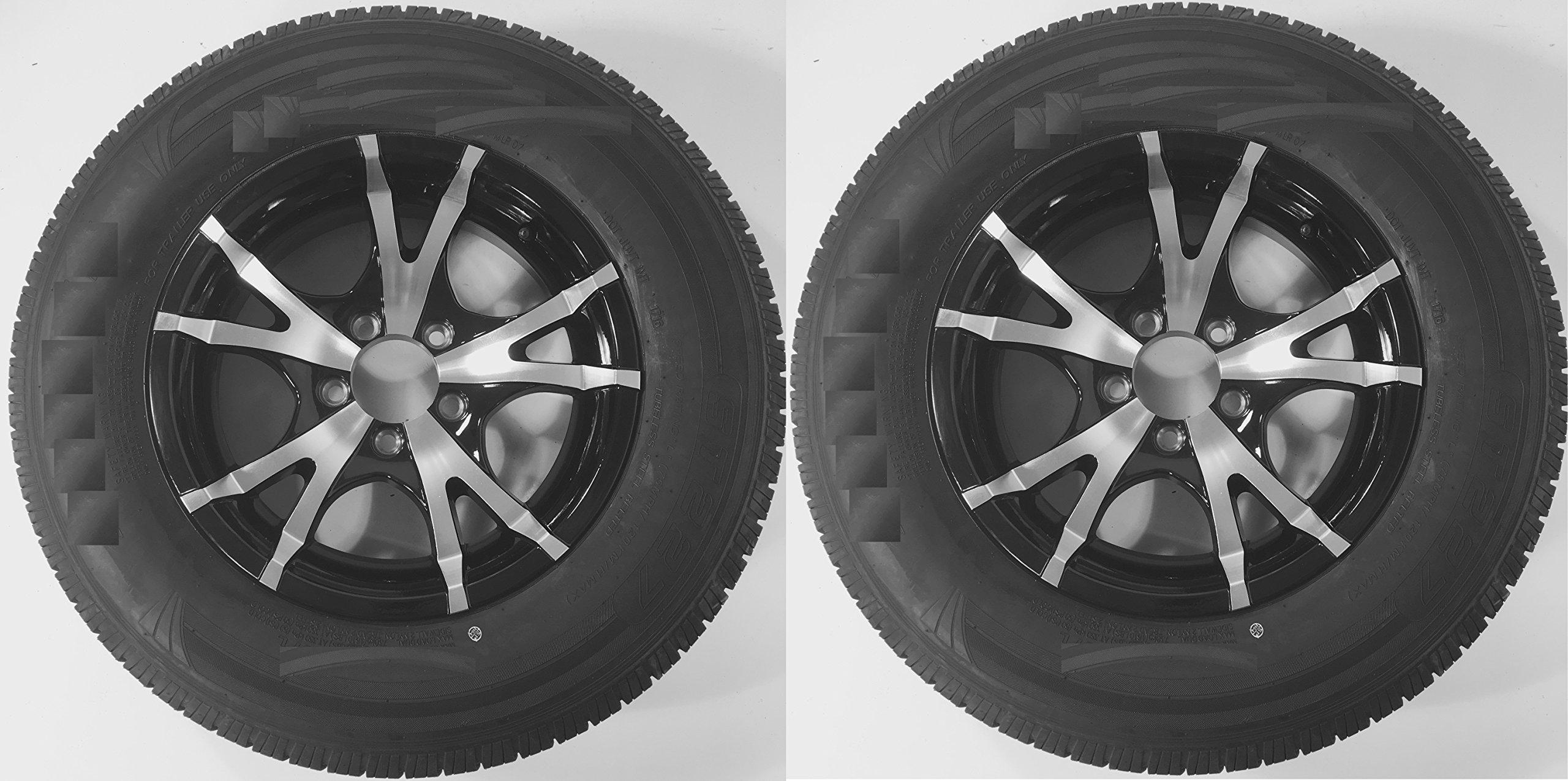 2-Pack Trailer Tires ST175/80D13 Load C 5 Lug Black T07 Aluminum Rim Wheel