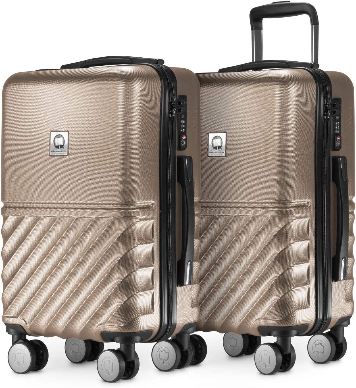 ABS Boxi HAUPTSTADTKOFFER Argent Coque Rigide Legere 4 roulettes Double TSA Set de 2 valises de Cabine Bagage a Main 55 cm