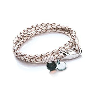 Tribal Steel 19cm White Leather 4-Strand Bracelet for Women with SS Shrimp Clasp, Crystal Charm + Disc