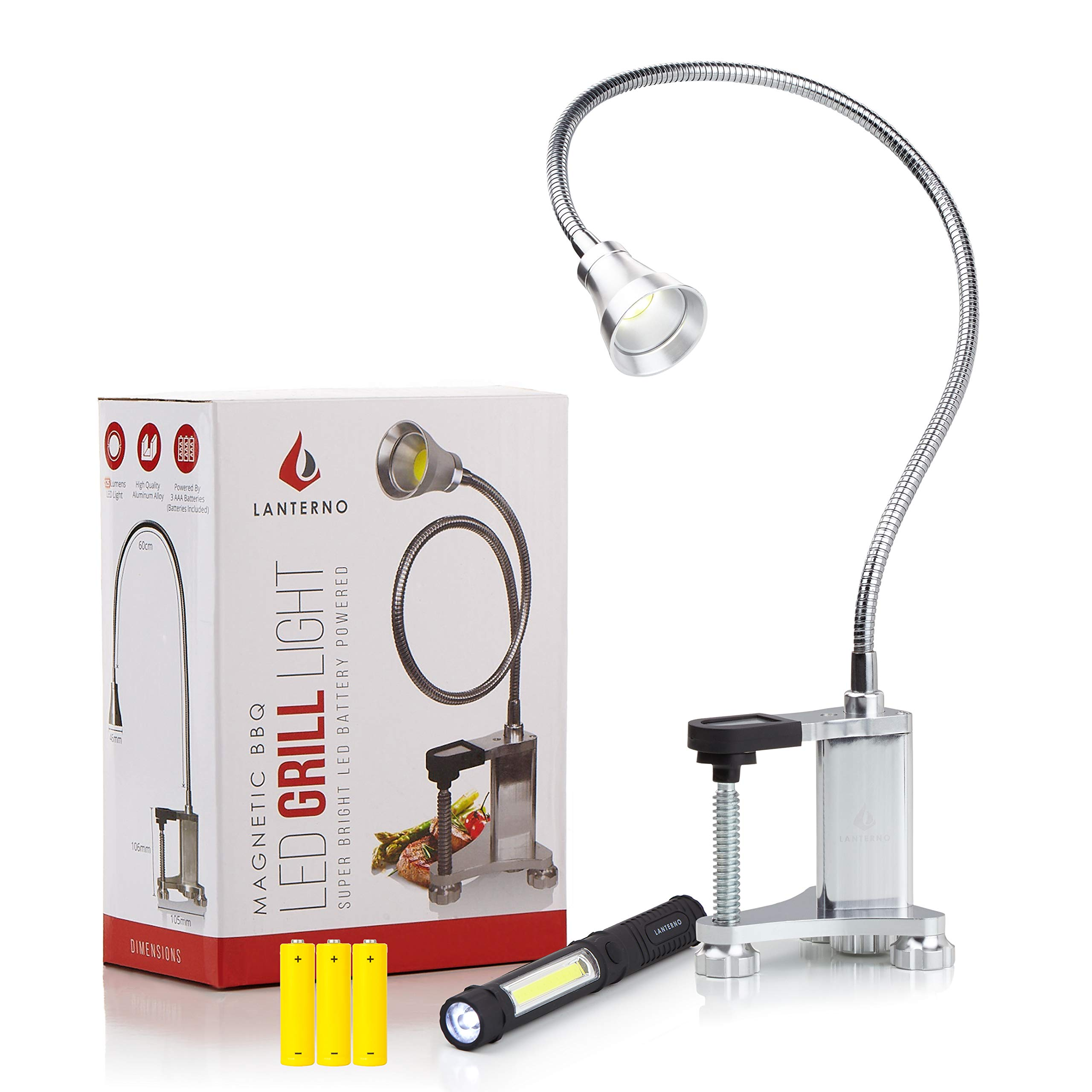 Grill Light for BBQ | Magnetic LED Lamp | Work Bench Accessories Flexible Gooseneck | Sewing Machine Lathes Jet Band Saw | Metal | Adjustable | Gas | Desk | Outdoor Industrial | Weatherproof | Clamp by Lanterno