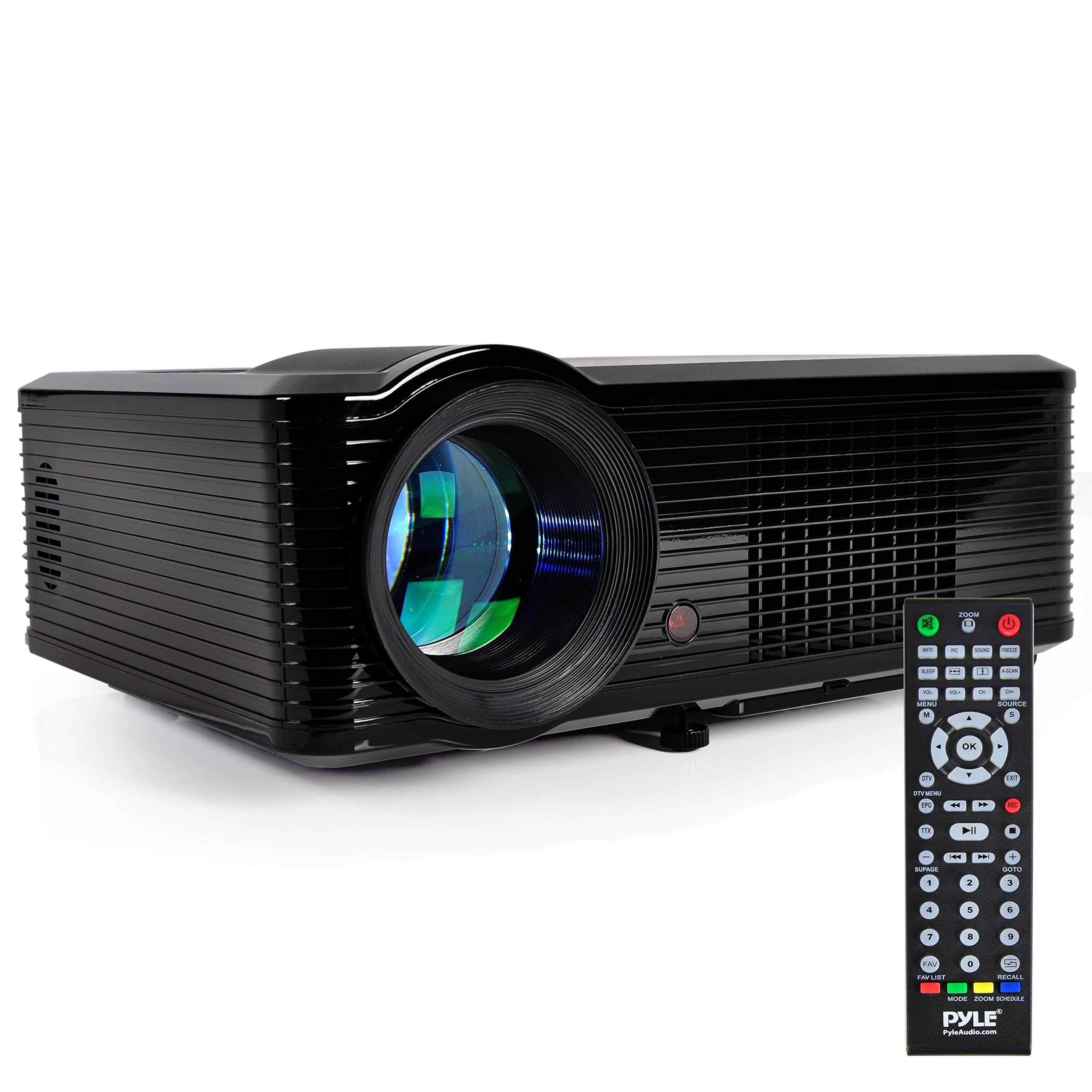 Pyle LCD LED Video Projector, Home Theater Projector with Builtin Stereo Speakers, 2 HDMI Ports, PiP, 800x600 Native Resolution, Adjustable Optical Keystone for TV PC Computer, Laptop