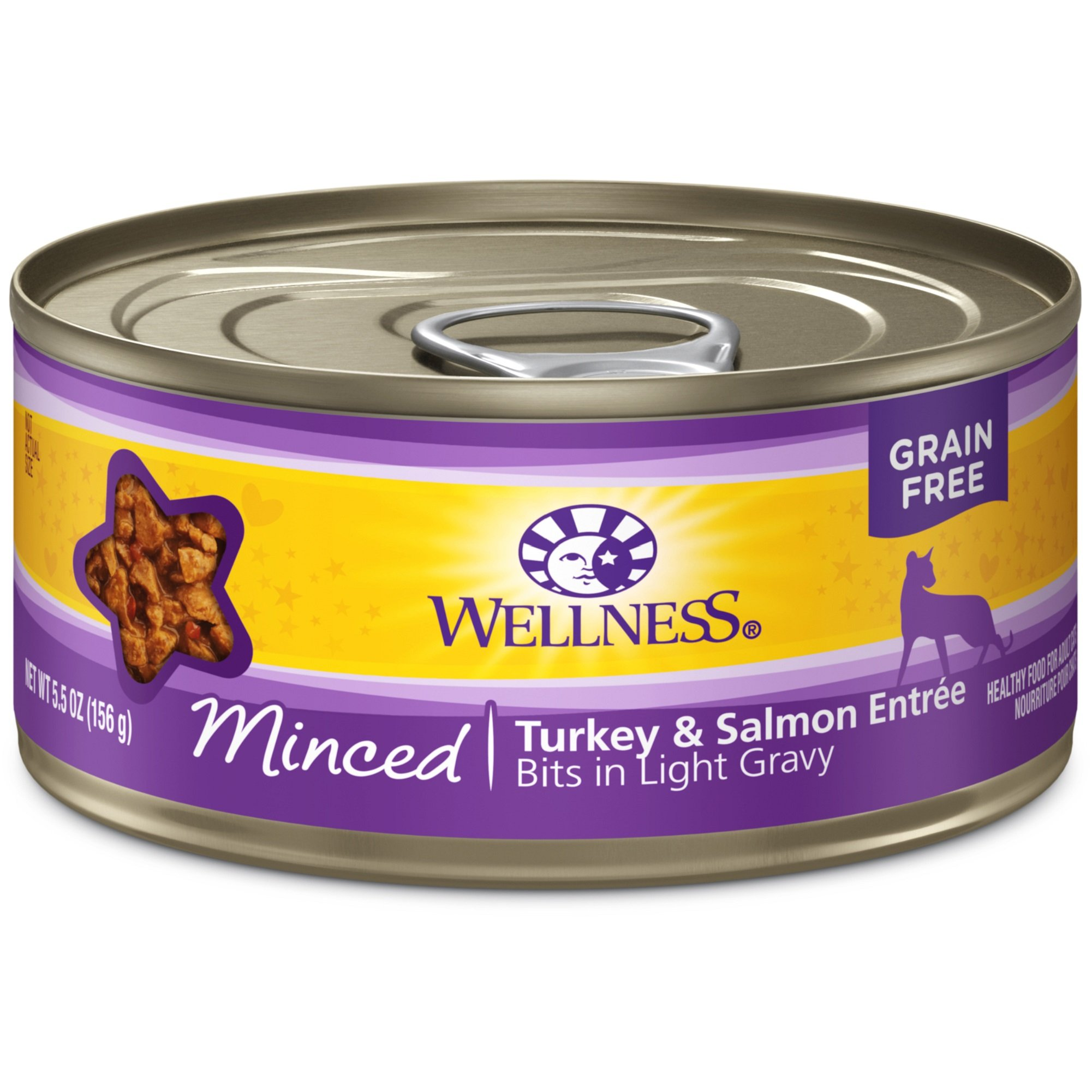 Wellness Complete Health Natural Grain Free Wet Canned Cat Food, Minced Turkey & Salmon Entrée, 5.5-Ounce Can (Pack Of 24) by Wellness Natural Pet Food