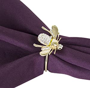 Fennco Styles Decorative Bejeweled Bumble Bee Design Metal Napkin Rings, Set of 4 - Gold Napkin Rings for Fmaily Diner, Theme Party, Wedding, Special Event and Home Décor