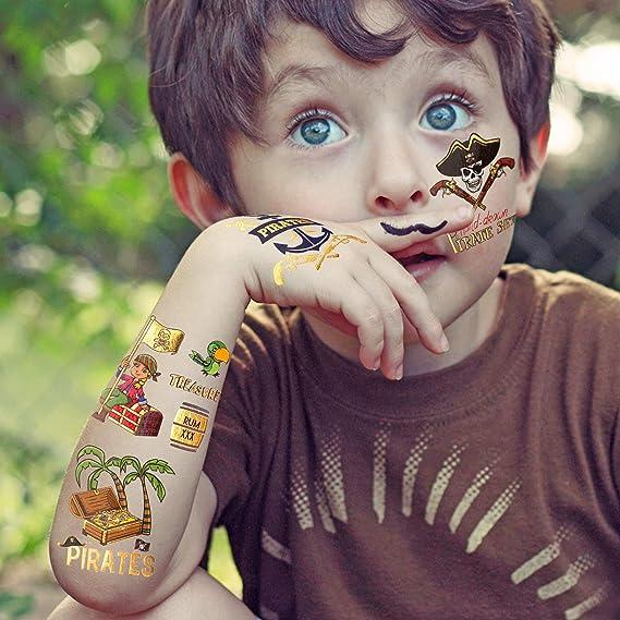 Konsait 56 x Metalicos Tatuaje Pirata Niños, Falso Impermeables ...