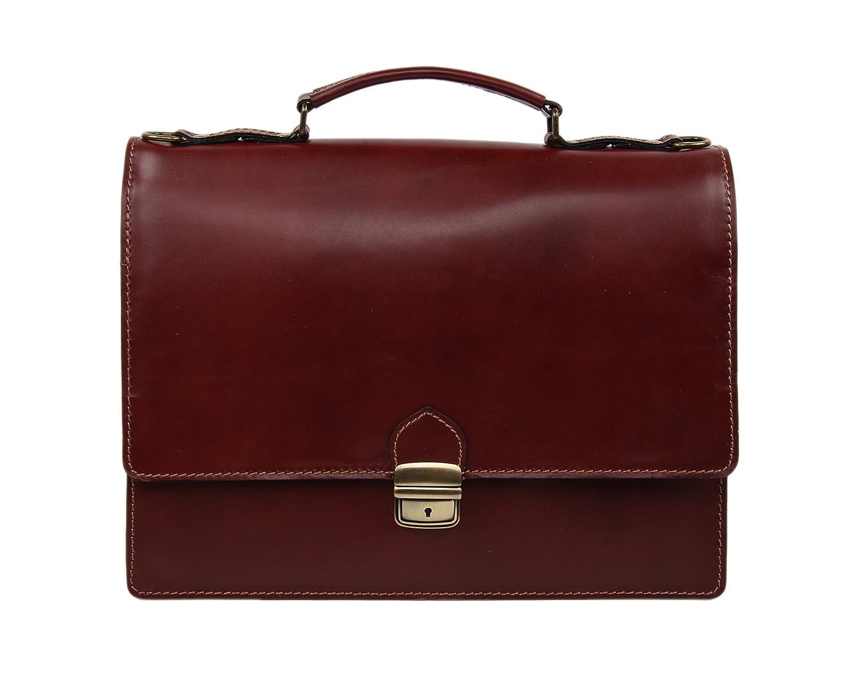 MARTIN Damen und Herren Leder Aktentasche Notebooktasche Arbeitstasche bis 13.3 Zoll FARBAUSWAHL (Braun)