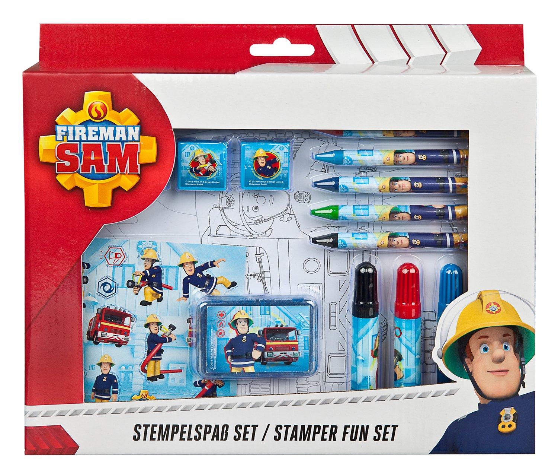 Lineal und Notizblock Radierer Spitzer Feuerwehrmann Sam Schreibset mit Bleistift Undercover FSTU0211 5 teilig