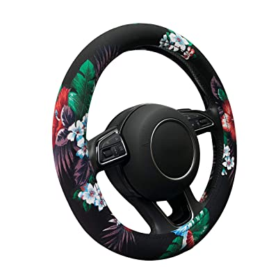 Binsheo Auto Car Steering Wheel Cover, Anti Slip Cotton Vehicle Steering Cover with Attractive Flower, Universal 15 Inch for Women Girls Ladies (Hawaii Style, Black): Automotive