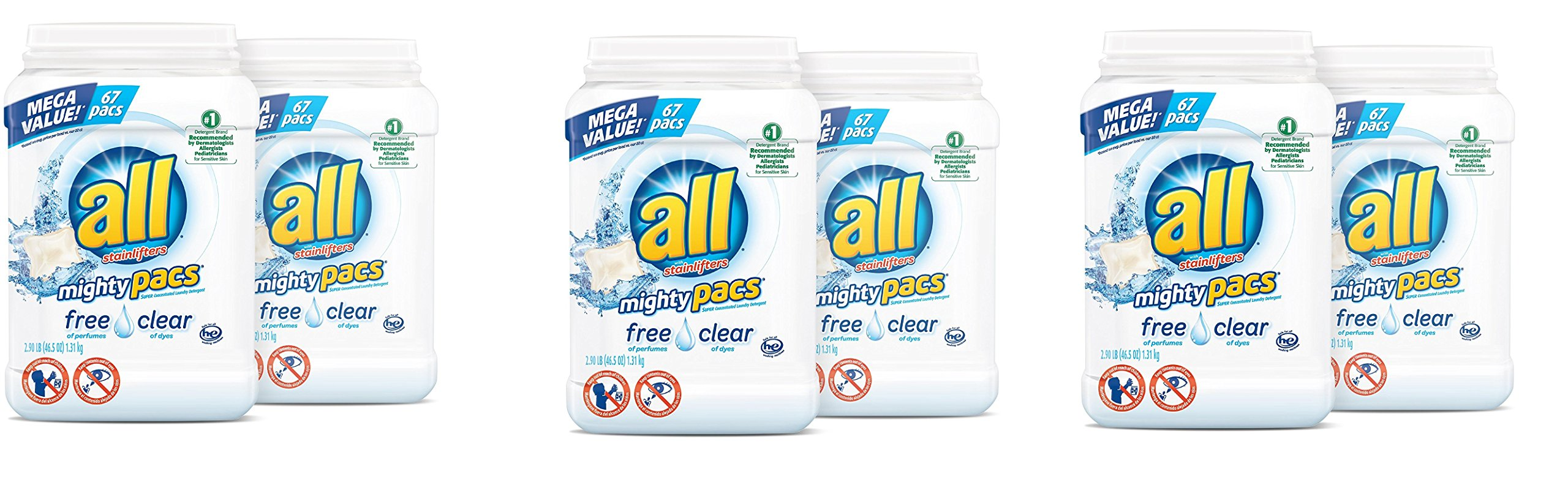 all Mighty Pacs Laundry Detergent, Free Clear for Sensitive Skin, 67 Count, 2 Tubs, 134 Total Loads (3 - case)