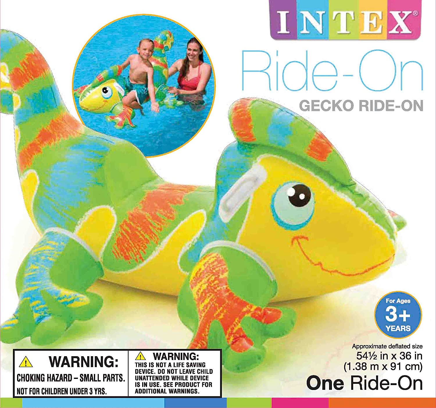 "Amazon Intex Smiling Gecko Ride 54 1 2"" X 36"" for Ages 3"