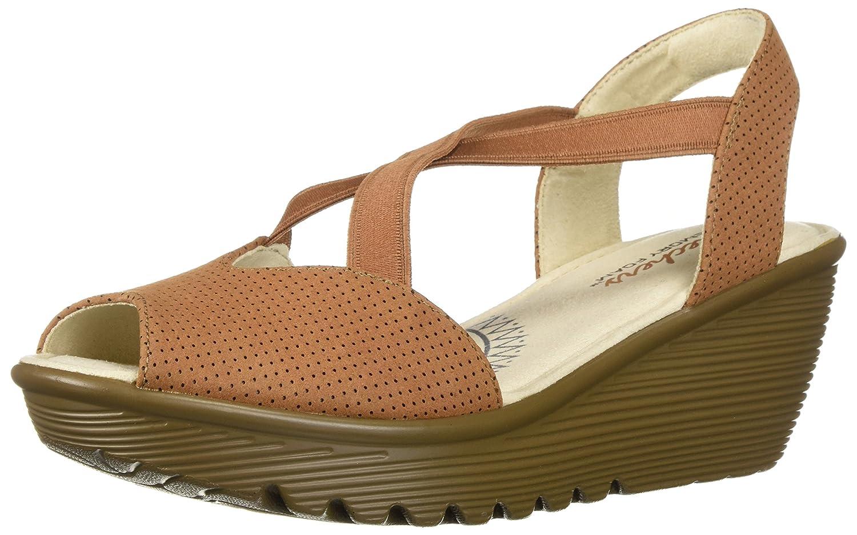 Skechers Women's Parallel-Piazza-Peep Toe Gored Slingback Wedge Sandal B07B5894CQ 7 B(M) US|Tan