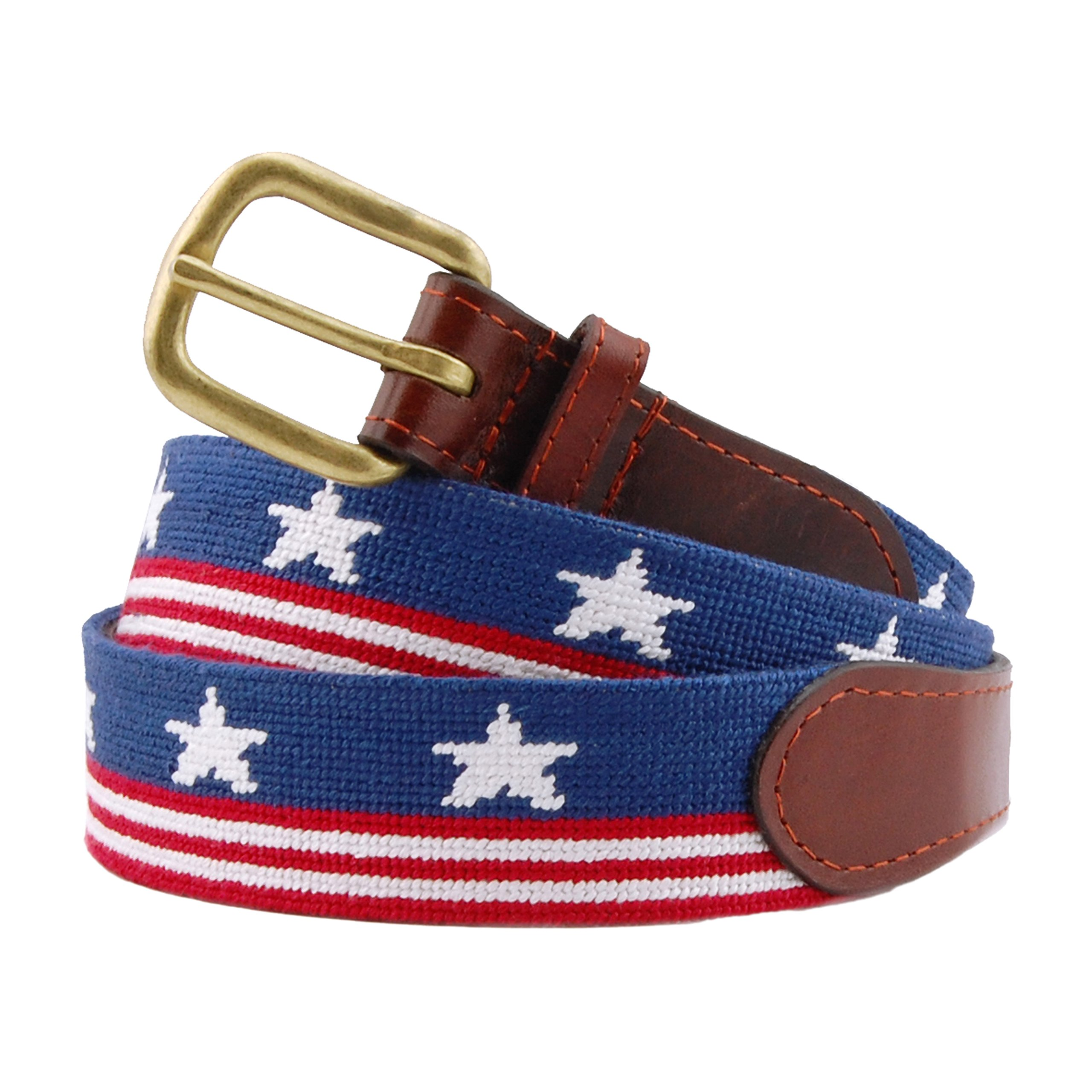 Smathers & Branson Men's Old Glory Needlepoint Belt 34 Red White and blue