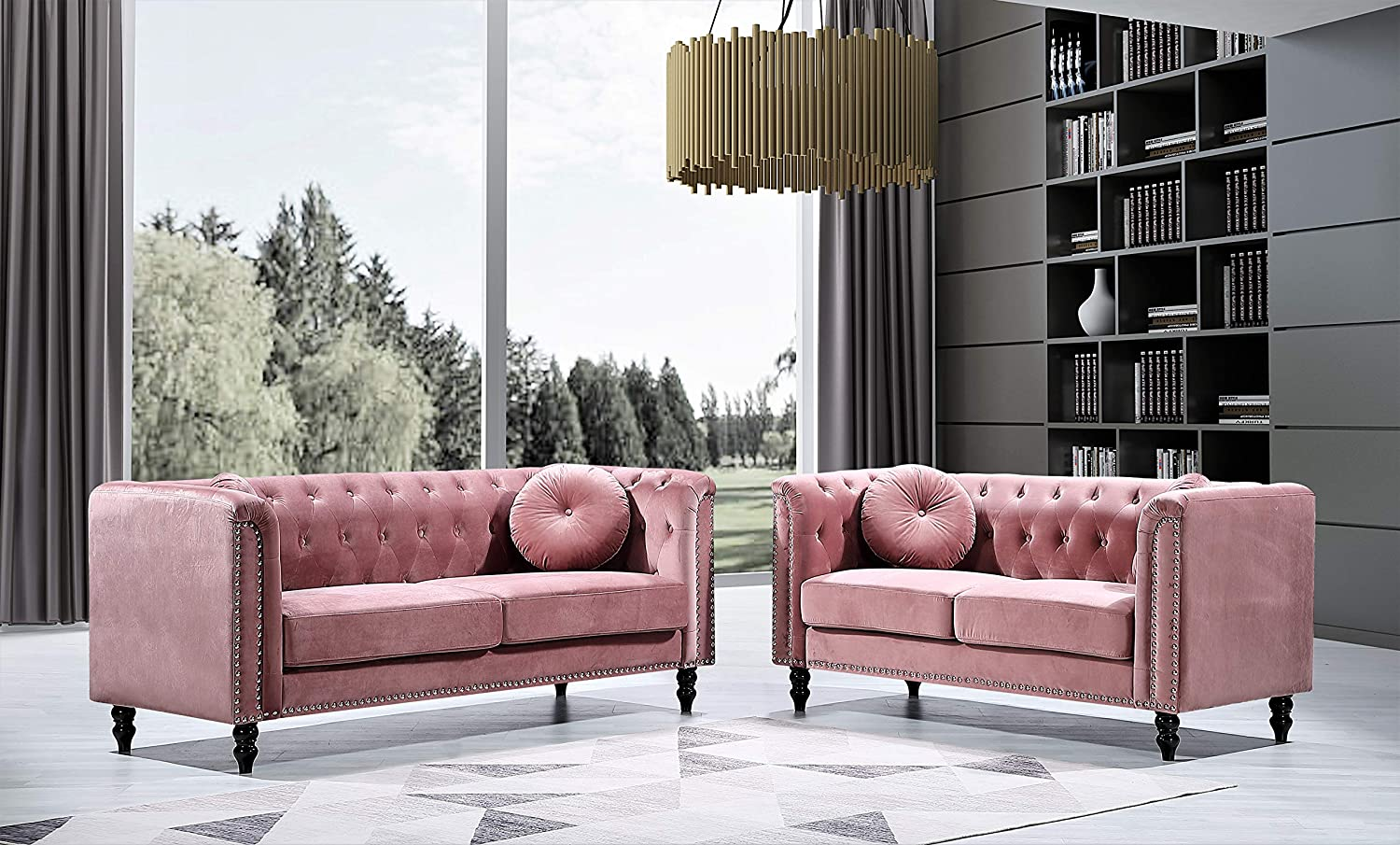 US Pride Furniture Whetzel Chesterfield Sofa and Loveseat Set Sectional, Rose