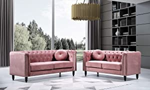 Container Furniture Direct Kittleson Mid Century Velvet Upholstered Nailhead Chesterfield Sofa Set, 2 Piece, Rose