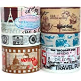 Crafty Rabbit Vintage Travel Washi Tape - Set of 6 Rolls - 196 Feet Total - Multicolor