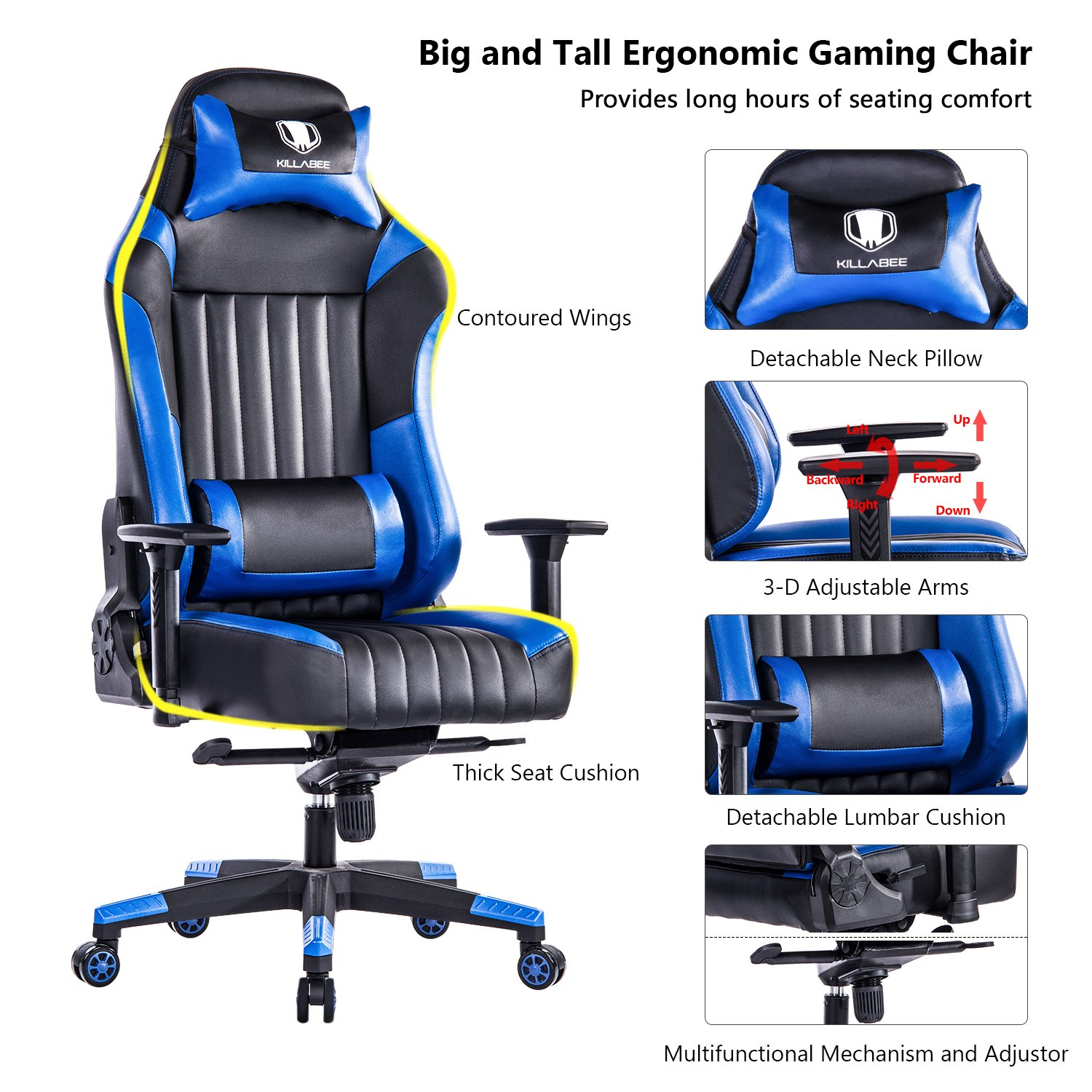 KILLABEE Big and Tall 440lb Gaming Chair - Adjustable Tilt, Back Angle and 3D Arms Ergonomic High-Back Racing Leather Executive Computer Desk Office Chair Detachable Headrest and Lumbar Support, Blue
