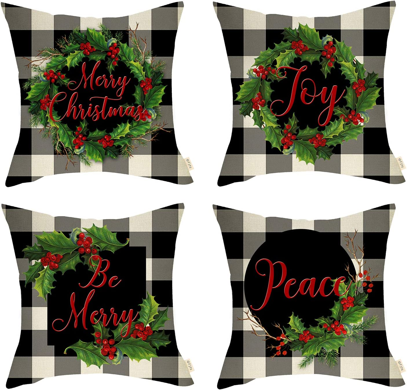 Fjfz Set of 4 Christmas Farmhouse Decorative Throw Pillow Cover Red Berry Wreath Sign 4pcs Merry X'mas Joy & Peace Winter Holiday Decoration Home Décor Cotton Linen Cushion Case Sofa Couch 18