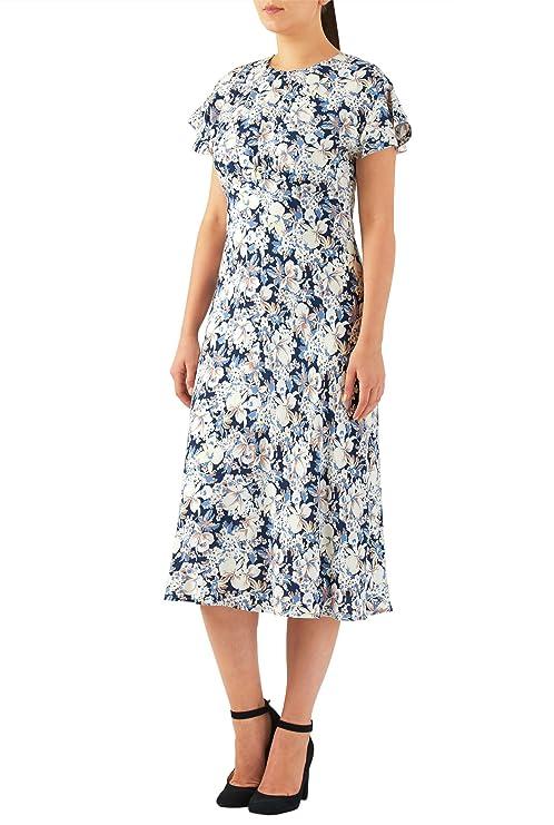 1930s Style Fashion Dresses eShakti Womens Floral print ruched empire midi dress $59.95 AT vintagedancer.com