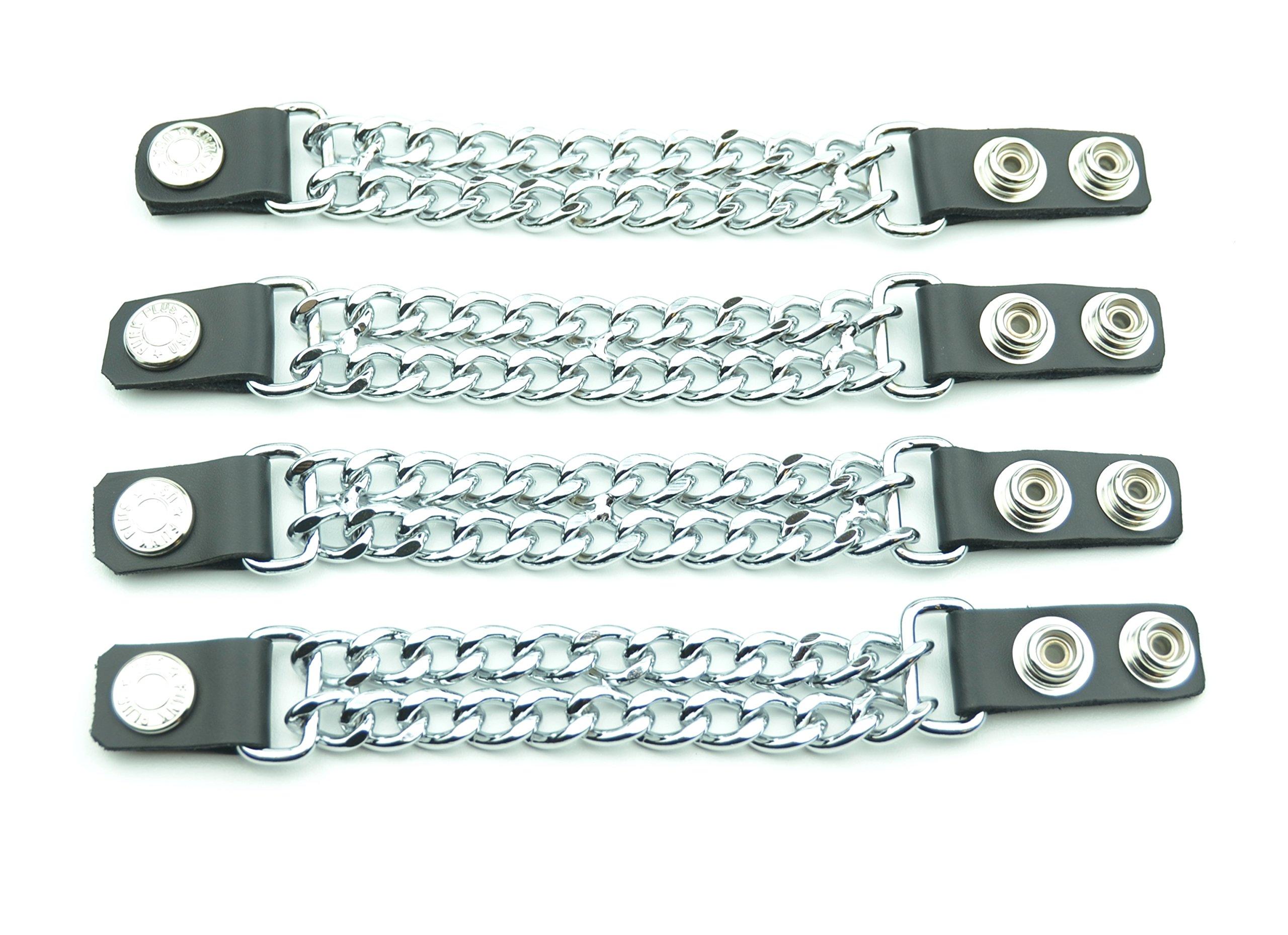 Vest Extenders Leather & Double Chrome Chain 4 Pcs
