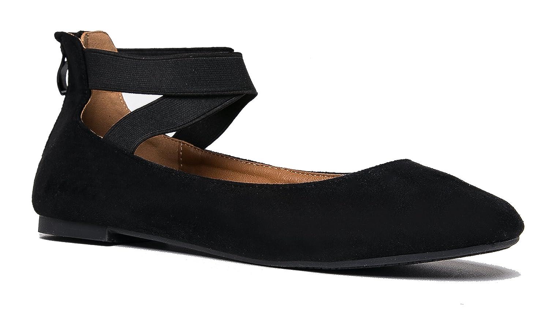 J. Adams Elastic Cross Strap Slip On Comfortable Closed Toe Ballet Low Ankle Strap Shoe Kelli by