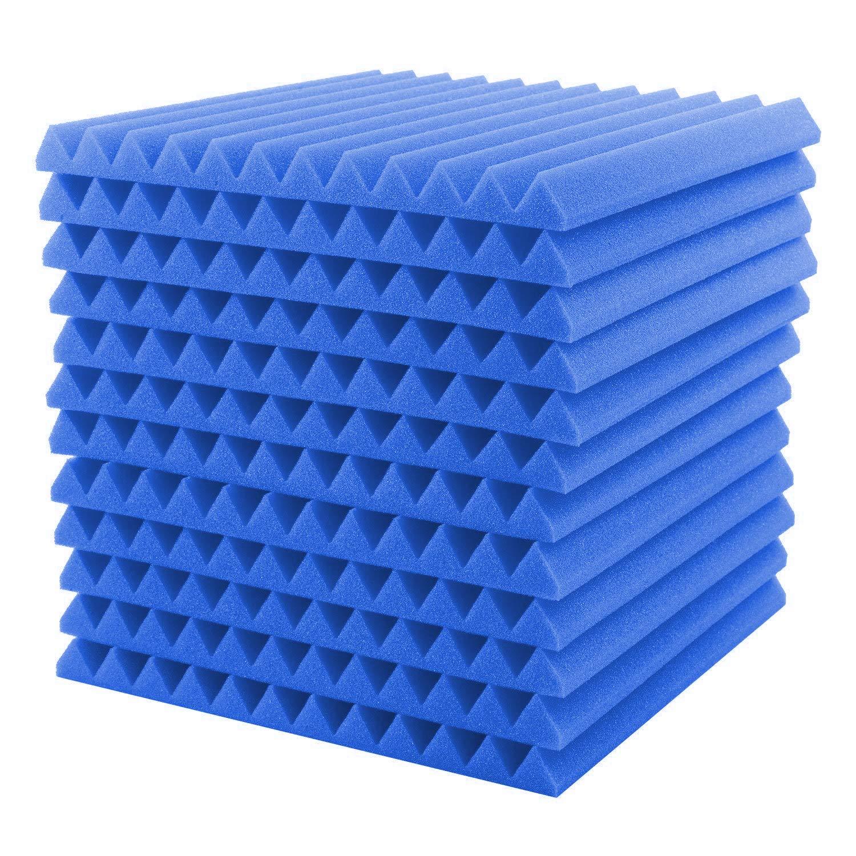 EisEyen 12 Stü ck Akustik Schaumstoff Akustikschaumstoff Noppenschaumstoff Breitbandabsorber Dä mmung (30 * 30 * 2.5cm) Schwarz/Rot/Blau/Gelb