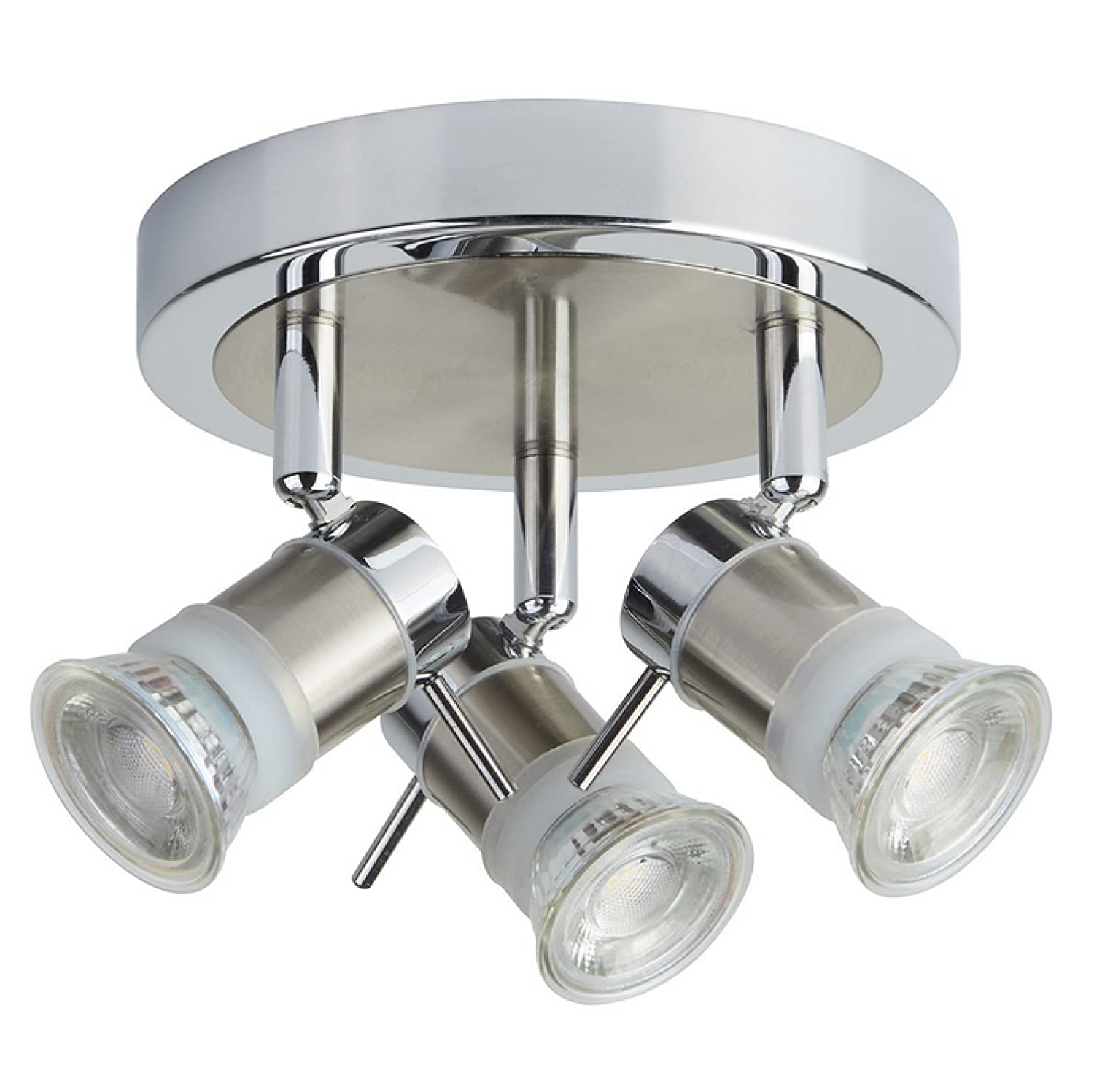 ARIES Chrome Finish Halogen Bathroom Ceiling Lights / Lighting with 3 Spotlights IP44
