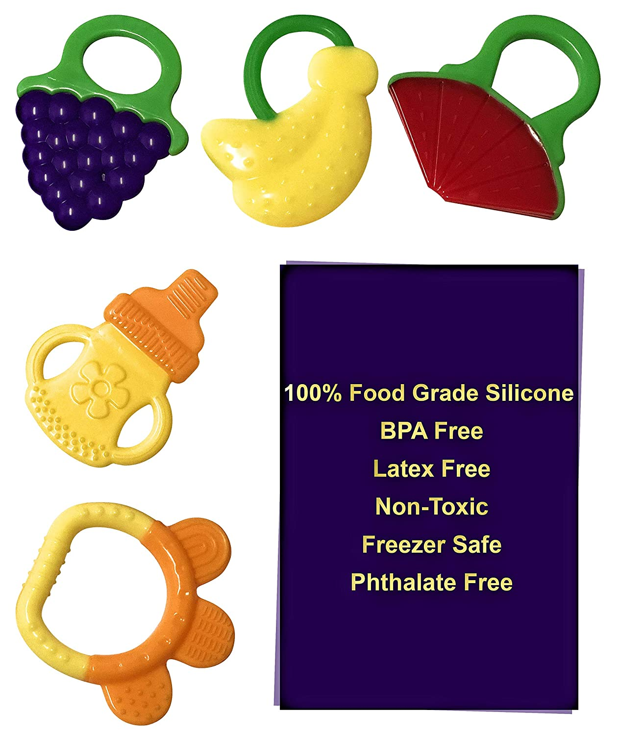 SoMag Silicone Baby Teethers BPA Free 5 Pack
