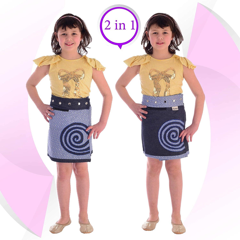 Sunsa M/ädchen Rock Minirock Jeansrock Wende-Wickelrock Sommerrock kurz Geschenk 15705 Kids Coole Sachen 2 Kinder R/öcke in einem Verstellbarer Gr/ö/ße Mini Jeans M/ädchenrock Girls Skirt