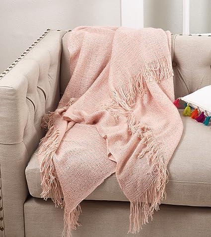 "Fennco Styles Classic Solid Throw Blanket With Tassels - 50""W x 50""L"