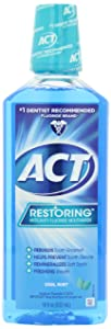 ACT Restoring Anti-Cavity Fluoride Mouthwash Cool Mint 18 oz Helps Freshen Breath & Strengthen Tooth Enamel to Prevent Tooth Decay & Cavities