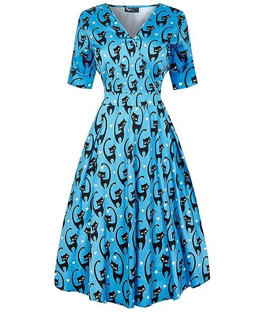 Lady Vintage voluptuosa Estella Fantástico Gatos Vestido - Azul, UK 22-24 (4XL