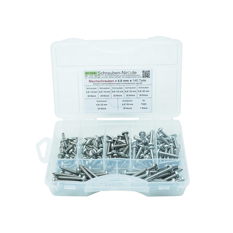 T10 /• Werkstoff A2 Torx Sortiment Linsenkopf-Blechschrauben Edelstahl /Ø 2,9 mm /• ISO 14585 // DIN 7981 /• Linsenblechschraube mit Innensechsrund VA // V2A