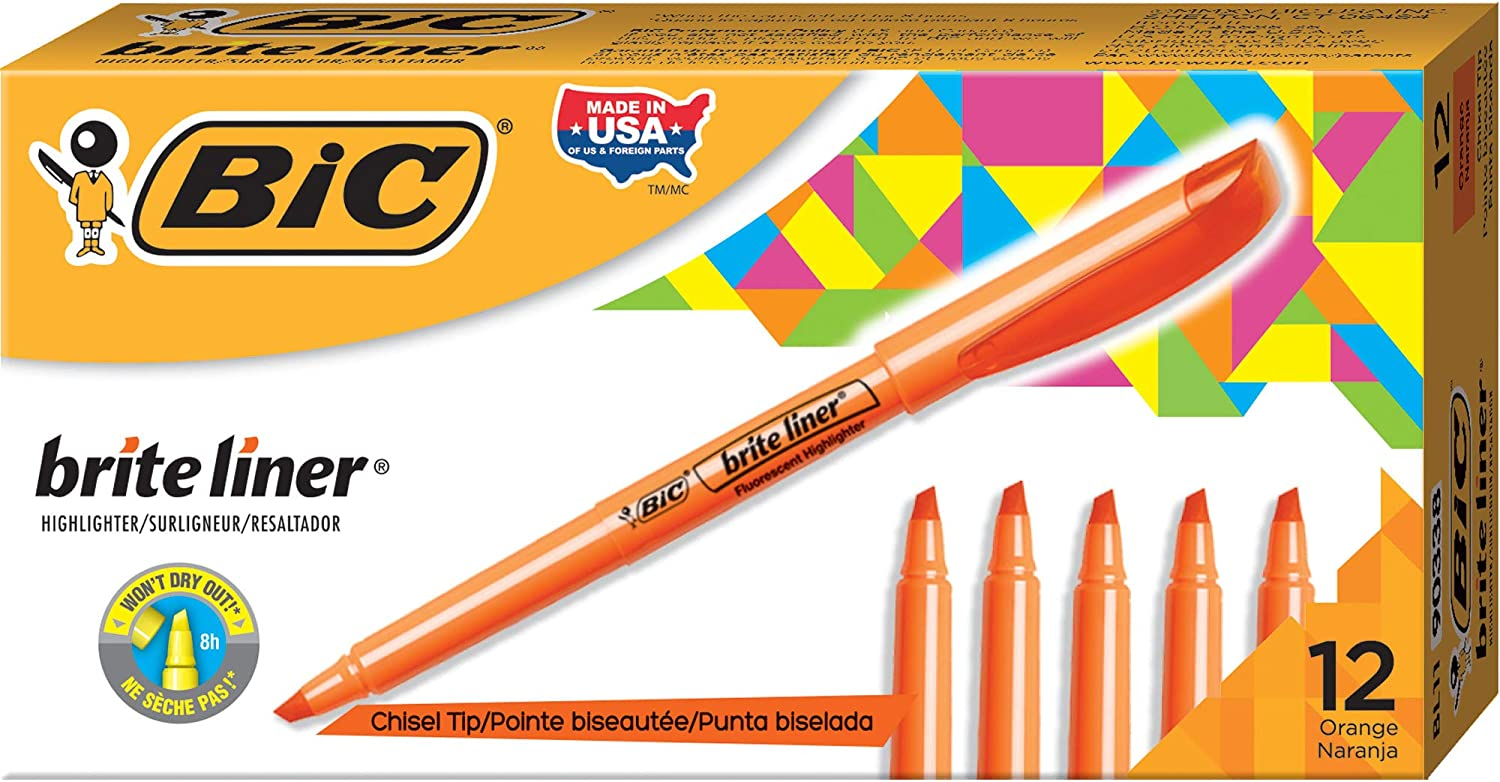 BIC Brite Liner Highlighter, Chisel Tip : Office Products