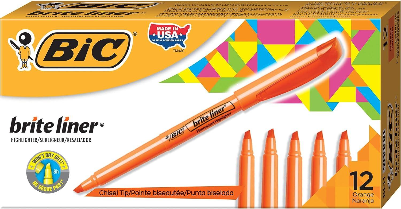4 Pack Bright Highlighter Pens Chisel Tip Blue Orange Green Pink Great Value!