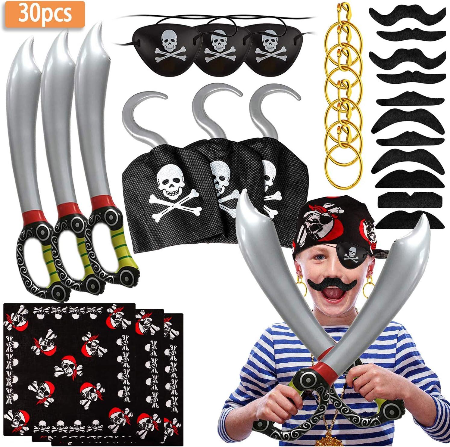 SPECOOL Accesorios de Pirata con Parche en el Ojo Pirata Pirata Espada Pendientes de Gancho de Pirata Conjunto Falso Bigote Pirata capitán Traje Conjunto para niños
