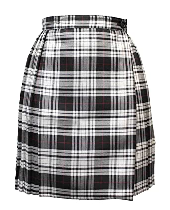 f532aa6ad8a8c MA ONLINE Ladies Buttoned 18 inches Tartan Skirt Womens Pleated Wrap Over  Dress Plus Size  Amazon.co.uk  Clothing