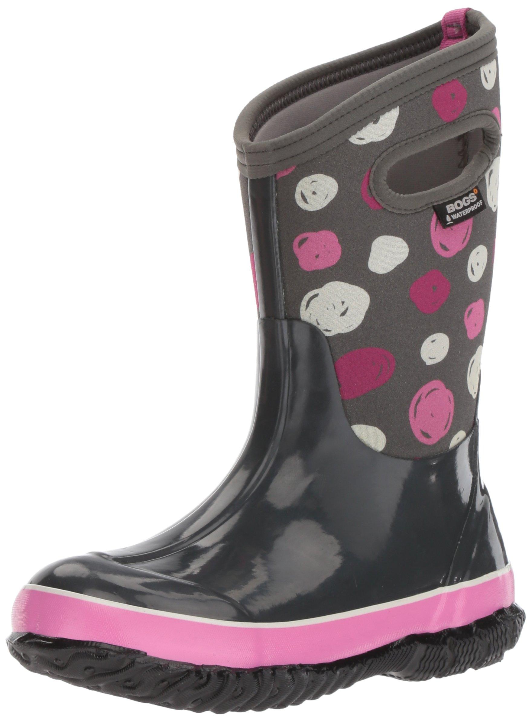 Bogs Classic High Waterproof Insulated Rubber Neoprene Rain Boot Snow, Sketched Dots Print/Dark Gray/Multi, 5 M US Big Kid
