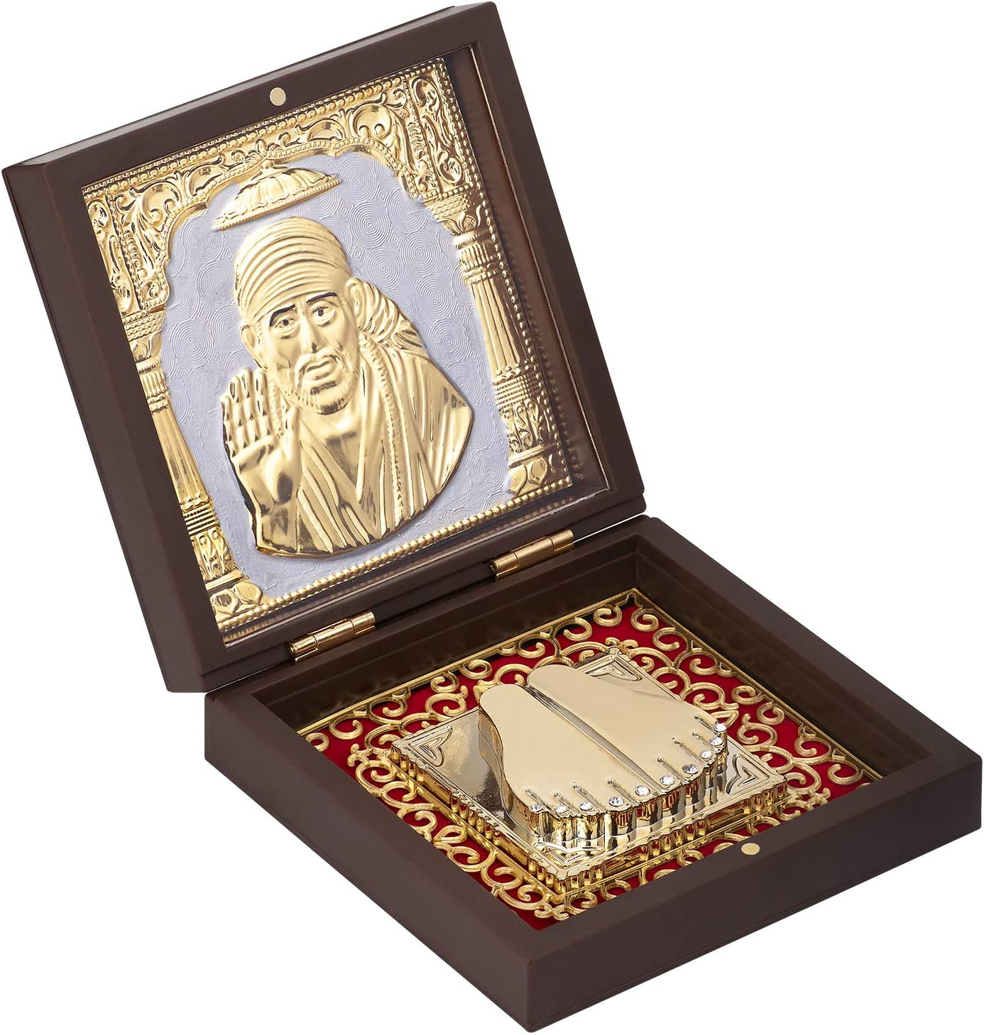 Aheli Indian God Sai Baba of Shirdi Idol Photo Frame Statue Holy Momento Frame for Pooja God of Fortune Shrine for Diwali Puja Indian Mythology Hindu Religious Charm Decorative Accessories Gifts