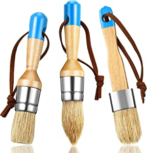 3 Pieces Chalk and Wax Paint Brushes Bristle Stencil Brushes for Wood Furniture Home Decor, Including Flat, Pointed and Round Chalked Paint Brushes (Blue)